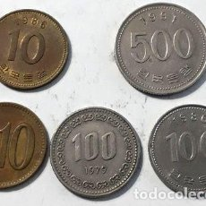 Monedas antiguas de Asia: LOTE X 5 MONEDAS COREA DEL SUR TODAS DISTINTAS. Lote 255290190