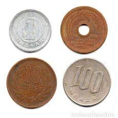 Monedas antiguas de Asia: JAPON LOTE SERIE X4 MONEDAS 1 5 10 Y 100 YEN. Lote 255295480