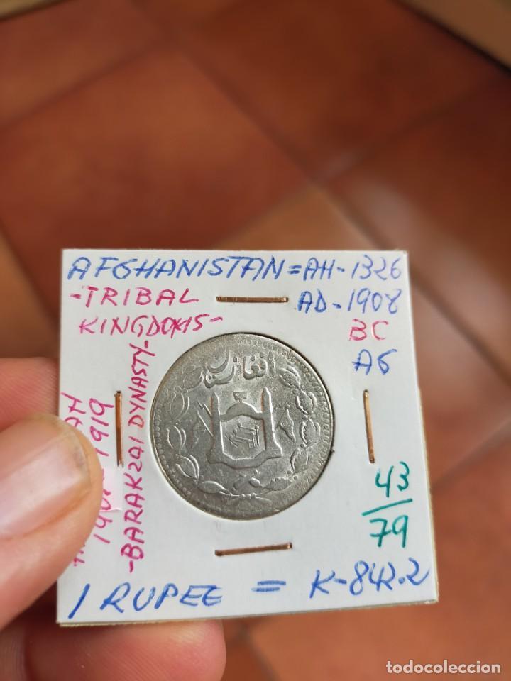 MONEDA DE UNA 1 RUPIA 1908 1326 AFGHANISTAN AFGANISTAN PLATA (Numismática - Extranjeras - Asia)
