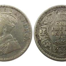 Monedas antiguas de Asia: INDIA BRITANICA 1 RUPIA 1919, GEORGE V, PLATA. Lote 257970340
