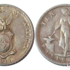 Monedas antiguas de Asia: FILIPINAS 10 CENTAVOS 1944, PLATA, BAJO ADMINISTRACION AMERICANA. Lote 261827570
