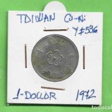 Monedas antiguas de Asia: TAIWAN. 1 DOLLAR 1972. CUPRONÍQUEL. Y#536. Lote 261933985