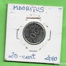 Monedas antiguas de Asia: MAURITUS. 20 CENT 2010. ACERO BAÑADO EN NÍQUEL. KM#53. Lote 261955200