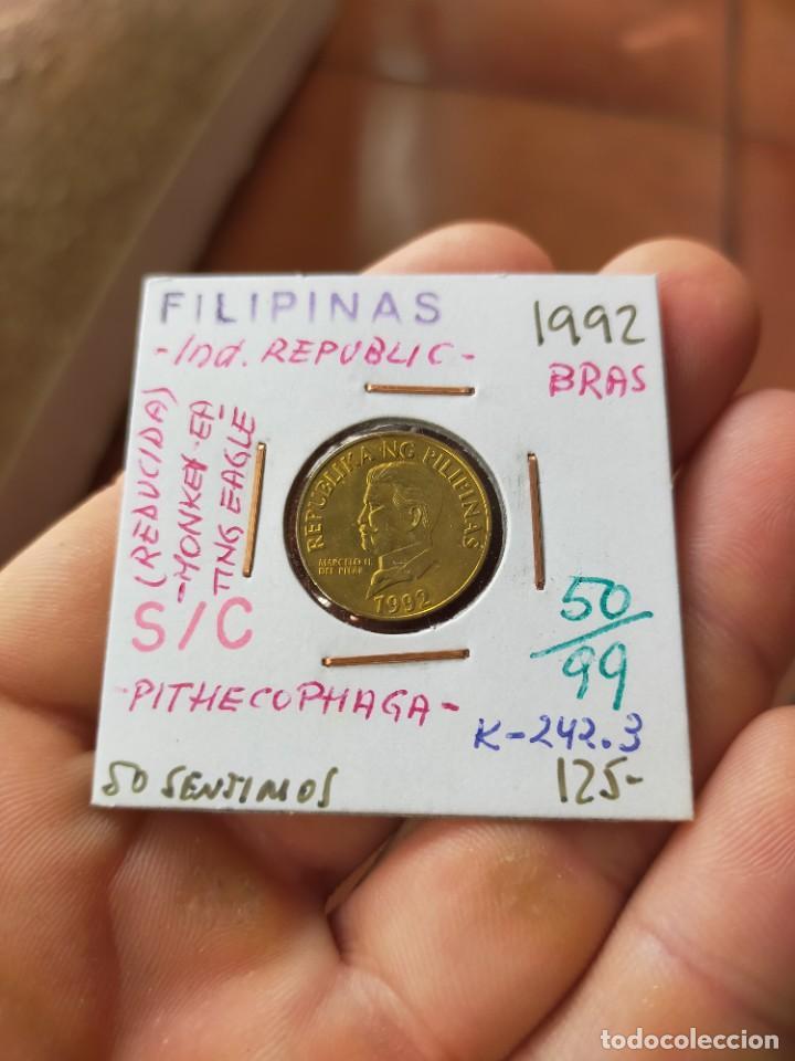 MONEDA DE 50 CINCUENTA SENTIMO PITHECOPHAGA JEFFERYI 1992 MARCELO H DEL PILAR FILIPINAS SIN CIRCULAR (Numismática - Extranjeras - Asia)