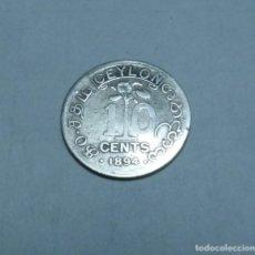 Moedas antigas da Ásia: MONEDA DE PLATA DE 10 CENTIMOS DE CEYLAN-SRI LANKA EMPERATRIZ VICTORIA AÑO 1894. Lote 266951679