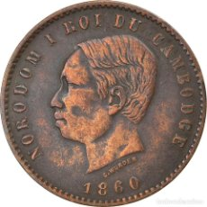 Monedas antiguas de Asia: [#747596] MONEDA, CAMBOYA, 10 CENTIMES, 1860, BC+, BRONCE, KM:M3. Lote 269504948
