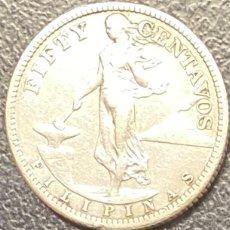Monedas antiguas de Asia: FILIPINAS, MONEDA DE PLATA DE 50 CENTAVOS, DEL AÑO 1920. Lote 275455448