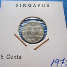 Monedas antiguas de Asia: MONEDA DE SINGAPUR DE 5 CENTAVOS DE 1972 SC RARA. Lote 276069313
