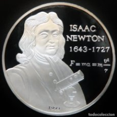 Monedas antiguas de Asia: SOMALIA 10.000 CHELINES 1999 - NEWTON. PLATA 0,999 PROOF. MUY ESCASA. Lote 276574068
