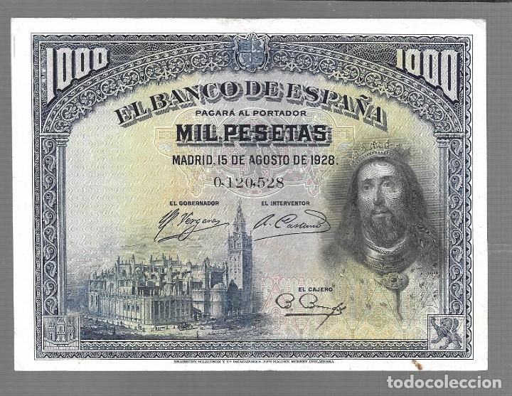 BILLETE DE ESPAÑA 1000 PESETAS DE ALFONSO XIII 1928 EL QUE VES ORIGINAL (Numismática - Extranjeras - Asia)