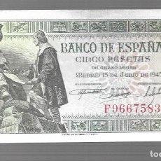 Monedas antiguas de Asia: BILLETE DE ESPAÑA 5 PESETAS DE FRANCO 1945 PLANCHA ------- EL QUE VES ORIGINAL. Lote 277023953
