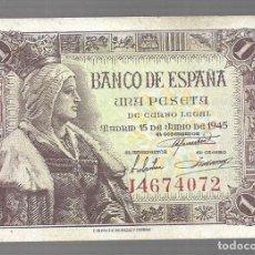 Monedas antiguas de Asia: BILLETE DE ESPAÑA 1 PESETAS DE FRANCO 1945 PLANCHA ------- EL QUE VES ORIGINAL. Lote 277024528