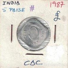 Monedas antiguas de Asia: MONEDAS - INDIA - 5 PAISE - 1987 S/C. Lote 277456423