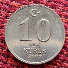 Monedas antiguas de Asia: TURQUÍA 10 KURUS 2007. Lote 293431723