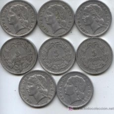 Monedas antiguas de Europa: LOTE DE 8 MONEDAS DE 5 FRANCOS - ALUMINIO - FRANCIA - MIRAR MAS DATOS EN DESCRIPCIÓN.. Lote 27394752