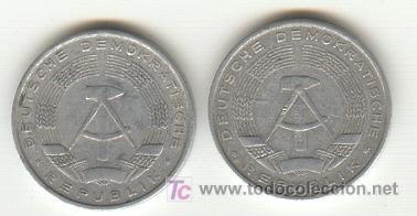 Monedas antiguas de Europa: DDR ANTIGUA REPÚBLICA DEMOCRÁTICA DE ALEMANIA DOS MONEDAS 10 PFENING 1963 - Foto 2 - 22630952