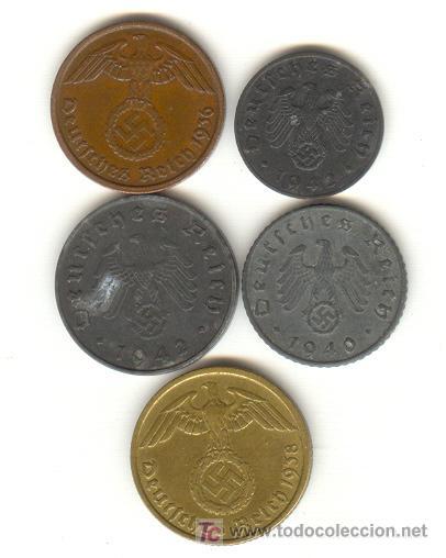 ALEMANIA TERCER REICH CINCO BONITAS MONEDAS DISTINTAS Y DISTINTOS VALORES 1,2,5 Y 10 PFENING (Numismática - Extranjeras - Europa)