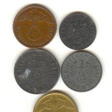 Monedas antiguas de Europa: ALEMANIA TERCER REICH CINCO BONITAS MONEDAS DISTINTAS Y DISTINTOS VALORES 1,2,5 Y 10 PFENING. Lote 24534948