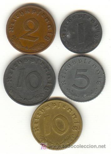 Monedas antiguas de Europa: ALEMANIA TERCER REICH CINCO BONITAS MONEDAS DISTINTAS Y DISTINTOS VALORES 1,2,5 Y 10 PFENING - Foto 2 - 24534948