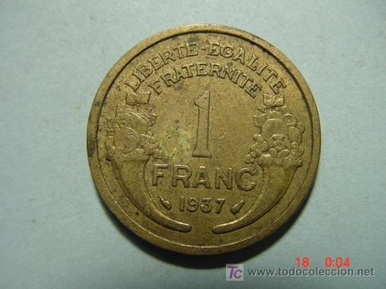 3282 FRANCIA FRANCE 1 FRANCO AÑO 1937 - MAS MONEDAS DE FRANCIA EN MI TIENDA COSAS&CURIOSAS (Numismática - Extranjeras - Europa)