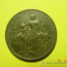 Monedas antiguas de Europa: 3305 FRANCIA FRANCE 5 CTMES AÑO 1916 - MAS MONEDAS DE FRANCIA EN MI TIENDA COSAS&CURIOSAS. Lote 6199183