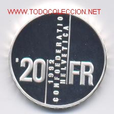 Monedas antiguas de Europa: 92- SUIZA- 20 FRANCOS- 1992-PROF - Foto 2 - 2117746