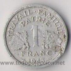 Monedas antiguas de Europa: 1 FRANC. ETAT FRANÇAIS. 1943. TRAVAIL FAMILLE PATRIE. FRANCIA. KM902.1.. Lote 18769771