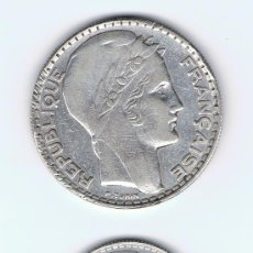 Monedas antiguas de Europa: FRANCIA, MONEDAS DE PLATA, 20 F AÑO 1933, D.35 MM. ESTADO MBC Y 10 F AÑO 1938, D.28 MM ESTADO MBC++. Lote 26722373