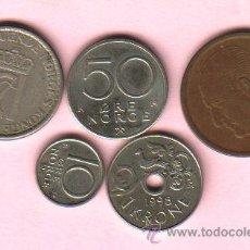 Monedas antiguas de Europa: NORUEGA - LOTE DE 5 MONEDAS (VER FOTOGRAFIAS). Lote 27547654