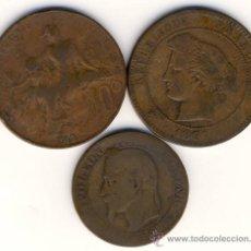 Monedas antiguas de Europa: FRANCIA.- 10 CENTIMOS1897 Y 1912. Y ¿5 CENTIMOS? DE 1862 DE NAPOLEON III.- VER OTROS LOTES. Lote 27048253