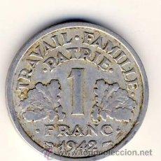Monedas antiguas de Europa: FRANCIA.- 1 FRANCO DE 1942. ALUMINIO.- VER OTROS LOTES. Lote 24237079