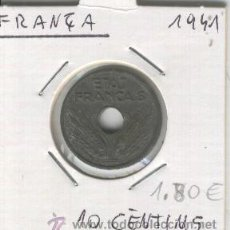Monedas antiguas de Europa: MONEDA. ANTIGUA. ZINC. FRANCIA. 10 CENTIMOS. AÑO 1941.BUENA CONSERVACION. . Lote 24769507