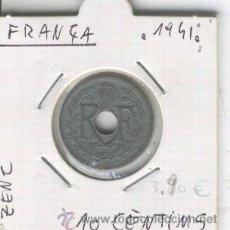 Monedas antiguas de Europa: MONEDA. ANTIGUA. FRANCIA. SEGUNDA GUERRA MUNDIAL. AÑO 1941. PUNTOS. ZINC 10 CENTIMOS. . Lote 26328852