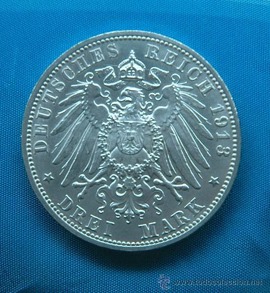 Moneda 3 Reichsmark 1913 Emisión Sajonia 3 Comprar Monedas