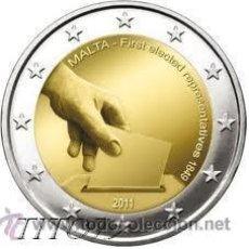 Monedas antiguas de Europa: MALTA 2 EUROS 2011 HISTORIA CONSTITUCIONAL ( PRIMERAS ELECCIONES 1849 ). Lote 243129705