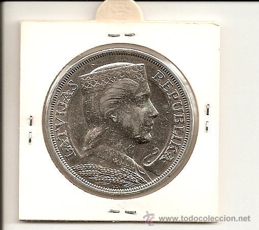 EXCELENTE Y MUY ESCASA MONEDA REPUBLIKA LATVIJAS 1929 VALOR 5 PIECI LATI. PLATA 25,05GR-37MM. EBC+ (Numismática - Extranjeras - Europa)