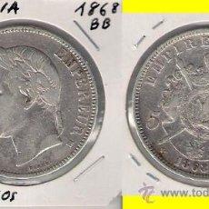 Monedas antiguas de Europa: ME223-FRANCIA. 5 FRANCOS. 1868. BB. PLATA. MBC.. Lote 164533940