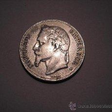 Monedas antiguas de Europa: 5 FRANCOS DE PLATA DE 1869. EMPERADOR DE FRANCIA ,NAPOLEÓN III. Lote 32723259