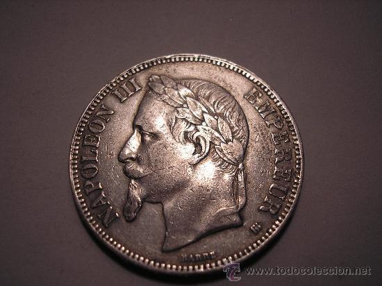 5 FRANCOS DE PLATA DE 1868 A. EMPERADOR ,NAPOLEÓN III (Numismática - Extranjeras - Europa)