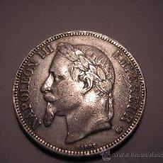 Monedas antiguas de Europa: 5 FRANCOS DE PLATA DE 1868 A. EMPERADOR ,NAPOLEÓN III. Lote 33123030