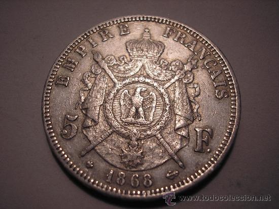 Monedas antiguas de Europa: 5 FRANCOS DE PLATA DE 1868 A. EMPERADOR ,NAPOLEÓN III - Foto 2 - 33123030