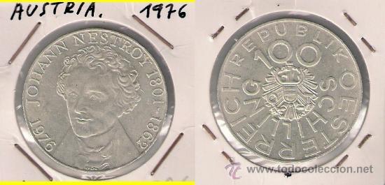 ME514-AUSTRIA. 100 CHELINES. 1976. PLATA. EBC+ (JOHANN NESTROY, DRAMATURGO, ACTOR Y CANTANTE). (Numismática - Extranjeras - Europa)