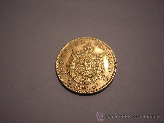 Monedas antiguas de Europa: 20 FRANCOS DE ORO DE FRANCIA DE 1861 BB.EMPERADOR NAPOLEÓN III - Foto 2 - 33403543