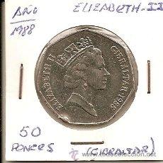 Monedas antiguas de Europa: MUY BUSCADA MONEDA EN NIQUEL ELIZABEHT II GIBRALTAR 50 PENCE 1988 -13,85GR-30MM.EBC-. Lote 33406060