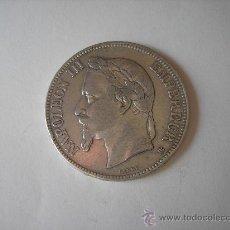 Monedas antiguas de Europa: 5 FRANCOS DE PLATA DE 1868 BB. EMPERADOR DE FRANCIA NAPOLEÓN III. Lote 33493801
