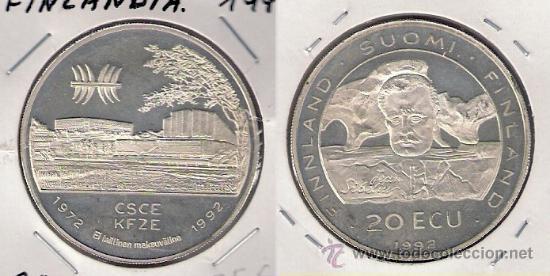 ME651-FINLANDIA. 20 ECU. 1992. PLATA. SC- (ANIVERSARIO DE LA CSCE. JEAN SIBELIUS). (Numismática - Extranjeras - Europa)