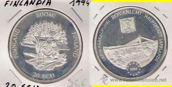 MONEDA 20 ECU DE FINLANDIA DE 1994. PLATA. SC- RAVONIEMI CAPITAL DE LA LAPONIA FINLANDESA. (ME652). (Numismática - Extranjeras - Europa)