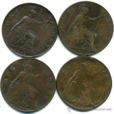 Monedas antiguas de Europa: GRAN BRETAÑA, 4 MONEDAS DE 1 PENIQUE 1900 - 01 - 02 Y O3. Lote 34805821