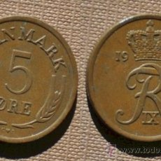 Monedas antiguas de Europa: DINAMARCA 5 ORE 1965. Lote 35780106