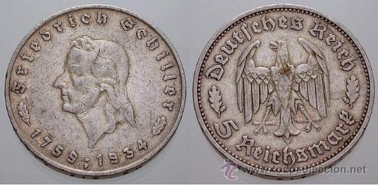 5 REICHSMARK DE PLATA ANIV. SCHILLER MUY ESCASA (Numismática - Extranjeras - Europa)